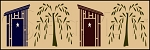 1094 * Outhouse & Willow Wall Border Stencil 8x24