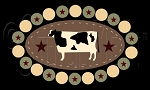 1957 * Cow Penny Rug 7.25x12