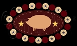 1958 * Pig Penny Rug 7.25x12