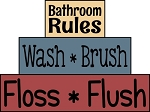 2841 * Bathroom Rules Stencil Block Set