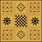 335 * Colonial Checks & Willow Floor Cloth Stencil 24x24