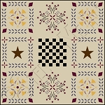 337 * Colonial Bouquet Floor Cloth Stencil 24x24