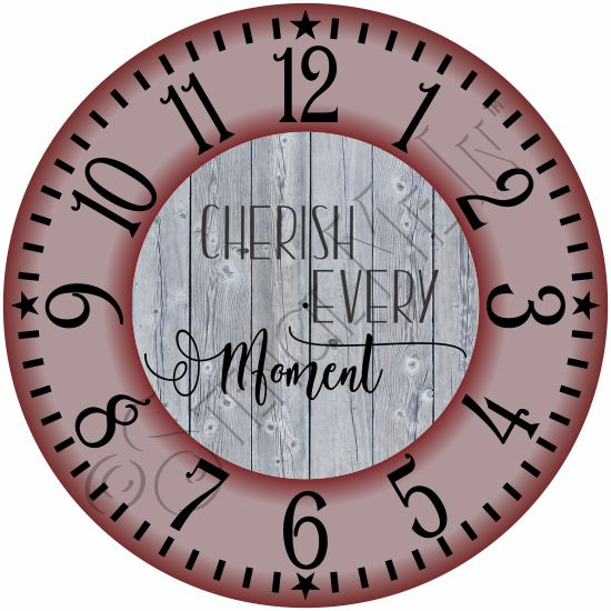 4221 * Cherish Every Moment Clock Face Stencil 24x24