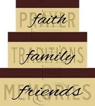 793 * Faith Family Friends Shaker Box Stencil Set
