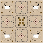 802 * Colonial Primitive Floor Cloth Stencil 24x24