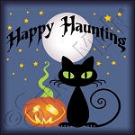 4028 * Happy Haunting Black Cat Stencil 11.25x11.25