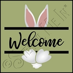 4419 * Bunny Welcome Banner Wreath Stencil