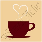 889-CA947 * Coffee Cup Heart Stencil Art 4x4