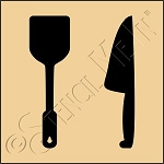 889-CA812 * Spatula & Kitchen Knife Stencil 4x4
