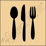 889-CA814 * Eating Utensils Stencil 4x4