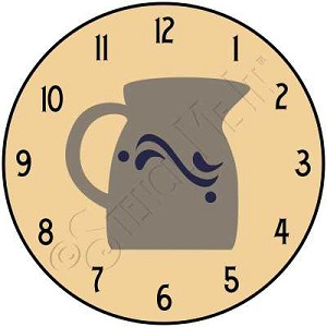 1518 * Crockery Pitcher Clock Stencil 11.25x11.25