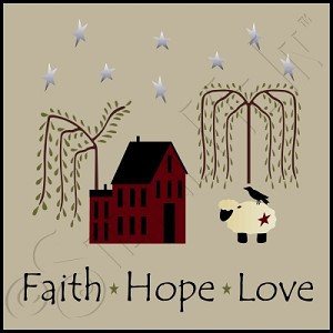 2227 * Faith Hope Love Saltbox Stencil 11.25x11.25