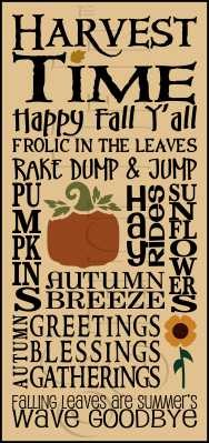 2277 * Harvest Time Typography Stencil 11.25x24