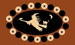2171 * Broomstick Ride Penny Rug Halloween Stencil 7.25x12