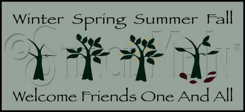 381 * Winter Spring Summer Fall Stencil 7.25x16