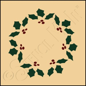 889-CA17 * Holly Wreath Stencil 4x4