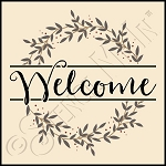 4453 * Welcome Leaves & Berries Wreath Stencil